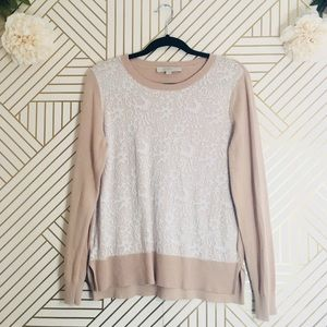 Loft | Front Lace Crew Neck Sweater